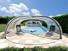 Retractable swimming pool enclosure made by IPC TEAM is high quality variable pool cover OLYMPIC.
