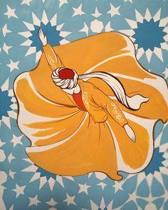 Original Painting Whirling Dervish Sufi Dance Rumi Miniature by AEDesignHouse on Etsy Ganesha Painting, Islamic Paintings, Mandala Drawing, Calligraphy Art, Islamic Calligraphy, Fantastic Art, Islamic Art, Indian Art, Painting Inspiration