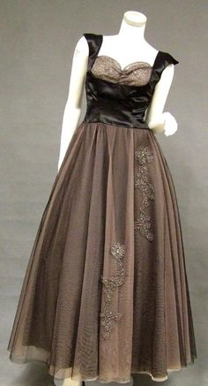 1950s Beaded Black and Pink Tulle and Satin
