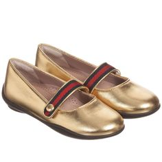 Gucci Girls Metallic Gold Leather Shoes