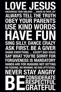 ORIGINAL Family Rules Subway Art Print // Black and White // 20x30