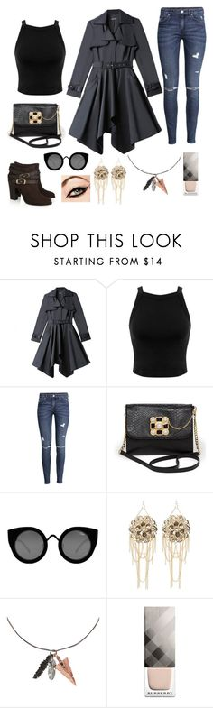 """""""Editorial Flare"""" by puppydog28 ❤ liked on Polyvore featuring Jimmy Choo, Bebe, Miss Selfridge, H&M, Quay, Icon and Burberry"""