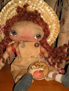 10 inch Apple Annie-primitive, raggedy ann doll, cloth rag doll, folk art dolls, hand, made, vintage, julie, marcotte, m