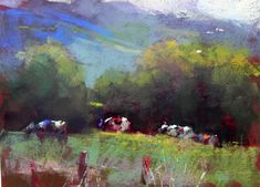 "E. Montpelier Cows   12"" x 9"" by Aline Ordman Just a shot of red sets it all off"