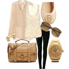 Black leggings and blush top