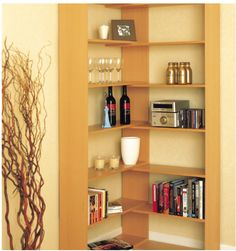 Make the most of your small space with this corner bookcase