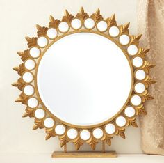 Tozai Home Sun Mirror on Pedestal: A table accessory on a grand scale will add an Asian flavor to any decor! Crafted of glass mirror with metal and resin. Sun Mirror, Sunburst Mirror, Floor Mirror, Small Round Mirrors, Glam Living Room, Standing Mirror, Home Wall Decor, Pedestal, Decorative Accessories