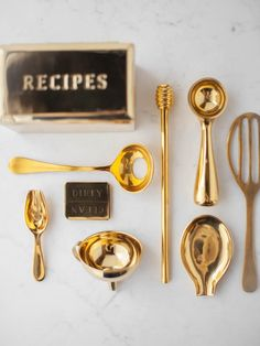 Brass is one of our favorite materials for homewares, perhaps because of how beautifully it ages. You can polish it to be shiny as new, or let it take on the marks of loving use. Our Brass Culinary Set is a collection of kitchen essentials, all made of solid brass. Each piece comes in a lovely canvas bag. Safe for dail Warm Kitchen, Brass Kitchen, Mothersday Cards, Dishwasher Magnet, Lds Art, Small Spoon, Baking Set, Kitchen Collection, Kitchen Essentials