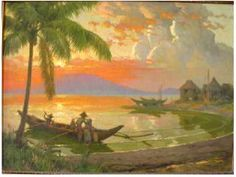 Return of the Fishermen by Fernando Amorsolo The Classic Art of Fernando Amorsolo Biography of Fernando Amorsolo image of Manila Bay Sunset Oil on canvas. 18 x Signed and dated, lower right. Original hand-carved frame made in the Phi Filipino Art, Philippine Art, Landscape Paintings, Art Paintings, Landscapes, In The Tree, New Artists, Beautiful Paintings, Figure Painting