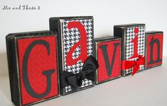 Wooden letter blocks customized with your colors and style -Alabama bama red black crimson houndstooth boy girl. $6.00 USD, via Etsy.