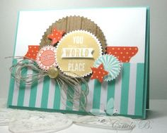 Cindy's card is dynamic and fresh! She used Starburst Sayings & its framelits, Hardwood, Fresh Prints dsp, & Retro Fresh Washi Tape.