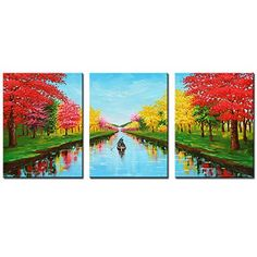 JoyArt 4 Seasons Canavs Prints Modern Landscape Red Trees Painting Comte Artwork on Canvas Framed Wall Art for Livingroom Decoration ** See this great product. (This is an affiliate link) Tree Canvas, Canvas Frame, Canvas Art, Canvas Prints, Tree Wall Art, Framed Wall Art, Red Tree, Abstract Landscape, Painting Abstract