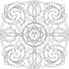 """Creative Haven """"Celestial Mandalas"""" Coloring Page   Free Printable Adult Coloring"""