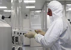 A scientist works at the International Atomic Energy Agency (IAEA) environmental sample laboratory in Seibersdorf