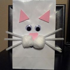 Kitty Cat Favor Bags - White lunch sacks, cotton balls, pipe cleaners, foam ears & nose. Perfect for Kitty Cat themed birthday party!