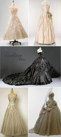 Vintage Dior gowns.