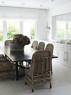 8 beautiful vintage wicker dining chairs in grey,,,beautiful with white ...