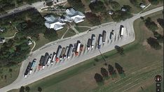 Trucks parked at Polk County Rest Area along Florida's I-4. The state's transport department is installing a Truck Parking Availability System along I-4, I-10, I-75 and I-95, consisting of at welcome centers, weigh stations, and rest areas to hel...