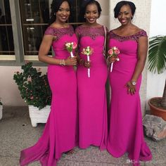 2016 Fuchsia African Mermaid Bridesmaid Dresses Cap Sleeves Lace Satin Formal Party Dresses for Wedding Ruched Fushia Maid of Honor Gowns Online with $140.32/Piece on Angelia0223's Store   DHgate.com