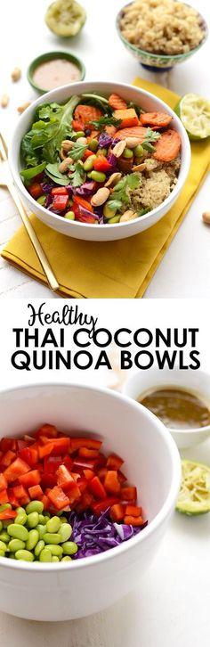 Get ready for meal prep madness. These Thai Coconut Quinoa Bowls are out of this world- a vegetarian meal packed with protein, veggies, and flavor!
