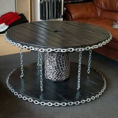 Custom Cable Spool Table with Industrial Chain Look, coffee table, industrial table, end table, wood - Products - Resin Wood Wooden Spool Tables, Cable Spool Tables, Wooden Cable Spools, Wood Spool, Industrial Table, Industrial Furniture, Woodworking Furniture, Diy Furniture, Custom Woodworking