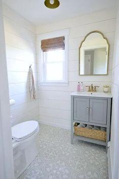 Glam Farmhouse Powder Room Makeover Bathroom Renos, Bathroom Flooring, Bathroom Ideas, Tile Flooring, Bathroom Designs, Bathroom Renovations, Bathroom Small, Budget Bathroom, Shiplap Bathroom