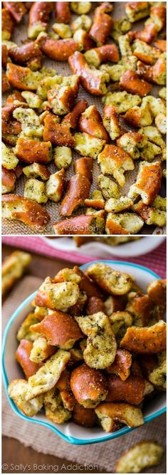 These Seasoned Pretzels should come with a warning label! They're SO easy. And they disappear fast! Baked hard pretzels seasoned with lemon pepper, dill, and garlic powder. You will not be able to stop snacking on these! Savory Snacks, Yummy Snacks, Healthy Snacks, Yummy Food, Appetizer Recipes, Snack Recipes, Cooking Recipes, Pretzel Recipes, Party Appetizers
