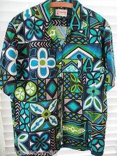 6ec8f077 Details about Vintage Men's Large Size L Iolani Hawaiian Shirt Made in  Hawaii USA blue green