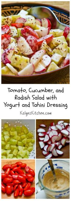I'm crazy about this simple but amazing Tomato, Cucumber, and Radish Salad with Yogurt and Tahini Dressing, my version of a salad I had in a middle eastern restaurant in Chicago.  Make this for summer holiday parties and get-togethers and I promise it will be a hit, especially if you can get garden-fresh tomatoes, cucumbers, and radishes! #LowCarb #GlutenFree [from KalynsKitchen.com]