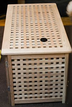 diy dog crate using Ikea's hol storage bench