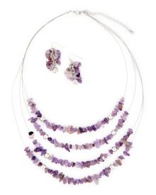 Purple Chip Necklace and Earrings Set - Accessorize like a fashionista in this set featuring a four-row illusion necklace adorned in vibrant purple chips and matching cluster drop earrings.