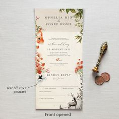 All-in-one wedding invitation. No envelope needed - simply pop it in the post. The design is inspired by nature and rustic autumnal woodlands. Featuring a furry fox, deer & raven .