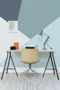 wandgestaltung ideen wandfarbe-modern-pastelltöne-muster-geometrisch-schreibtisch