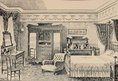 Edwardian Bedroom. Illustrations from The Army & Navy Stores catalogue. (Edwardian Promenade credit)