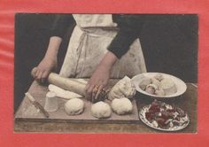 "'THIS 'ERE DO SHAW 'OW WE DO MAAKE OUR  PASTIES' | 'A  used postcard marked ""Paignton July 29th 1916"" Frith Series (No. 65134) Colour tinted. Printed postcard showing a lady rolling out the pastry to make a Cornish pasty.'     ✫ღ⊰n"