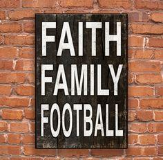 Faith Family Football handmade wooden sign.  Approx. 13x19x3/4 inches