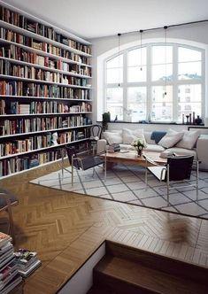 Design Living Room, Living Room Decor, Living Spaces, Home Library Design, House Design, Design Desk, Dream Library, Elegant Living Room, Modern Living
