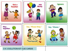 """Solution cue cards """"If you're happy and you know it clap your hands. If you're frustrated and you know it ask for help. If you're angry and you know it say I'm mad..."""""""