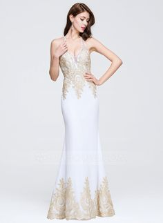 Trumpet/Mermaid Halter Floor-Length Beading Appliques Lace Zipper Up Regular Straps Sleeveless No 2016 White Spring Summer Fall General Plus Prom Dress