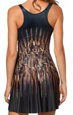 Love this Dress! Awesome Colors! Spray-painted Print U-neck Racerback Sleeveless Skater Dress #Sexy #Comfy #Summer #Fashion