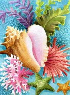 Shells & Corals IV by Johnny Karwan Nautical Prints, Nautical Theme, Decoupage Vintage, Decoupage Paper, Underwater Painting, Seashell Painting, Caribbean Art, Beach Crafts, Shell Art