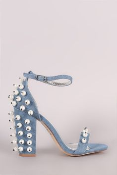 Denim Faux Pearl Embellished Open Toe Ankle Strap Chunky Heel