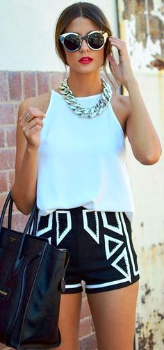 ! Aqua is so perfect for summer! Aqua tank with tribal black and aqua shorts-trend-summer-looks    <> @kimludcom