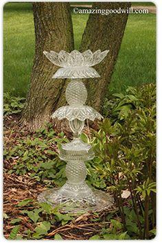 #DIY Bird Bath or Garden Art - using glassware from #Goodwill