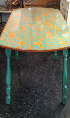 DIY Stencil table in different colors