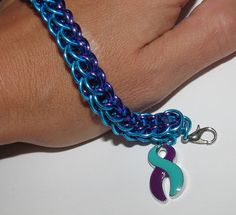 Suicide Prevention Awareness Charm Bracelet  Persian Weave Thing 1, Chainmaille Bracelet, Turquoise And Purple, Fashion Bracelets, Persian, Weave, Charmed, Handmade, Beautiful