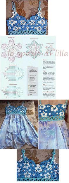 lo spazio di lilla: A gentile richiesta...schemi di sproni crochet per Celia / Crochet yokes diagrams for Celia / Patrones de canesù de crochet