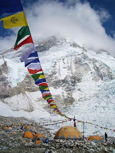 Prayer flags at Everest Base Camp, Himalayas, Nepal (by SIMMS8).