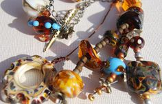 Beady dangle browns gold necklace by Nancy by BrownDogGlassBeads, $159.00