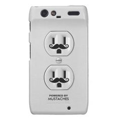 Personalized Funny Mustache Power Outlet Motorola Droid RAZR Cover